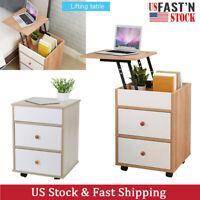 Lift Top Wood Sofa End Side Bedside Table w/2 Drawer Nightstand  Storage Shelf V