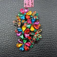 Shiny Rhinestone Multi-Color Crystal Flower Betsey Johnson Charm Brooch Pin