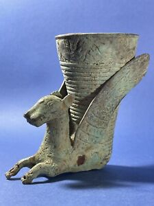 Scarce INTACT Ancient Persian Bronze Rhyton In Form Of Winged Beast Circa 400BCE