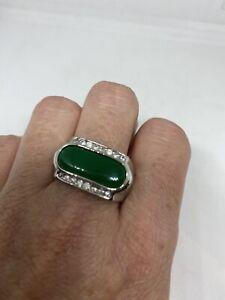 Vintage Green Jade Ring Size 8