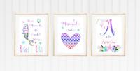 Personalised A4 Mermaid Glitter Print Rainbow Floral Girls Bedroom Initial Set