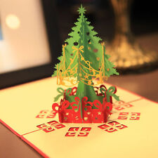 Merry Christmas Tree 3D Laser Cut Pop Up Paper Handmade Greeting Cards Xmas Gift