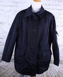 Venezia Size 22/24 Black Nylon Polyester Coat Jacket Button Front See Measuremen