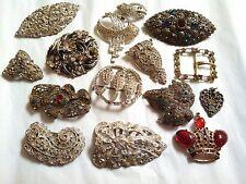 15 Vintage Victorian Art Deco Rhinestone Fur Dress Clip Brooch Repair Parts Lot