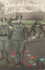 Italian postcard: Saluti dal Genio Zappatori (military diggers)
