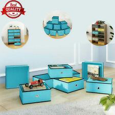 8 Pcs Blue Cube Storage Box Foldable Fabric Basket Drawer Storage Box Container