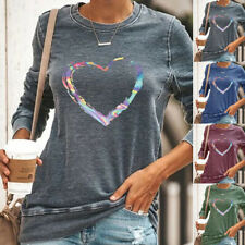 Womens Long Sleeve Round Neck Heart Printed Tops Blouse Ladies Casual T-Shirts