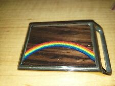 TECH ETHER GUILD RAINBOW BELT BUCKLE SOLID BRASS WOOD INLAY NEW MADE IN USA
