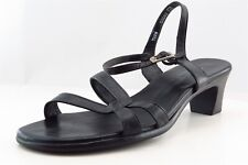 Munro Ankle Strap Black Leather Women Shoes Size 7.5 Wide (C, D, W)