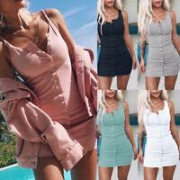 Women's Summer Slim Sleeveless Knit Single-breasted Club Party Short Mini Dress