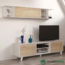 Parete attrezzata mobile porta tv bianco/legno rovere base televisione salotto