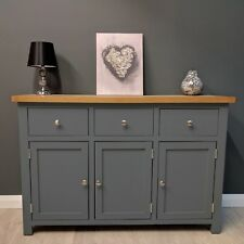Painted Oak Sideboard Large Dark Grey / Oak Cupboard / Solid Wood / New Trend