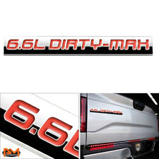 """6.6L DITRY-MAX"" Metal 3D Decal Red Emblem Exterior Sticker For Chevrolet Pickup"