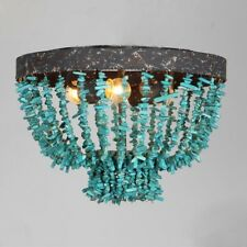 American Country Style Blue Stones Flush Mount E14 Light Aged Steel Ceiling Lamp