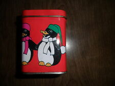 Tin Scented candle Winter Scene Christmas Holiday Penguins