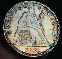 1859 Seated Liberty Half Dime 5C High Grade AU+ Details US Silver Coin CC2679