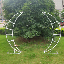 2 piece Iron Wedding Arch Crescent Moon Floral Stand Wedding Backdrop White
