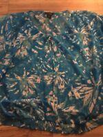 Lane Bryant Short Sleeve Sheer Top Shirt Blouse Size 18-20 Blue Flowers