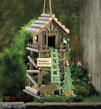 log cabin RANGER STATION camping Wood fairy garden Bird tree house birdhouse