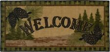20X44 Welcome Pine Cone Green Brown Cabin Lodge Kitchen Rug Mat Washable Accent