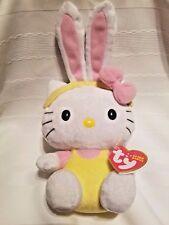 "Hello Kitty Ty Plush Beanie Baby Bunny Ears 9"" Stuffed Animal"