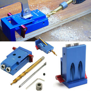 Pocket Hole Jig Kit System Wood Working Joinery Tool Set w/ Step Drill Bit UK