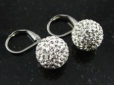 Centellante Damas De Acero Inoxidable PENDIENTES CON STRASS BLING Brillante