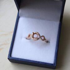 14K Rose Gold & Diamond Semi Mount Halo Ring Setting RD6x6 mm R453