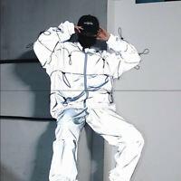 Mens Reflective Jacket 3M Hoodie Hiphop Night Shiny Windbreaker Streetwear Coat