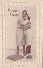 "C1910 Funny Risque Baseball Embossed Postcard ""Hugging Second"""