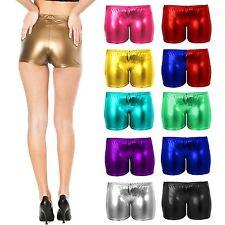 New Womens Ladies PVC Metalic Disco Wet Look Shorts Dance Party Shiny Plus Size