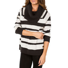 2015 NWT WOMENS ELEMENT CONNIE STRIPE COWL NECK SWEATER $70 black white ribbed