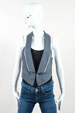 Haute Hippie Gray Wool Pinstripe Print Tuxedo Collar Sleeveless Vest SZ S