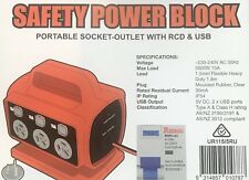 15A 5 OUTLETS RCD SAFETY POWER PORTABLE MCB BOARD BOX  WITH USB x 2 PORTS