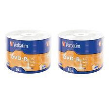 100 DVD-R 100% Verbatim DVD -R Matt Silver 4.7GB 16X vergini vuoti 120 min 43788