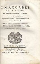 I MACCABEI di Le Maitre de Sacy - antico Baseggio editore, 1795 - RARO Bibbia