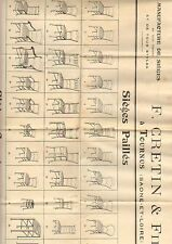 """TOURNUS (71) AFFICHE / USINE de SIEGES & CHAISES Paille Canné """"F. CRETIN & Fils"""""""