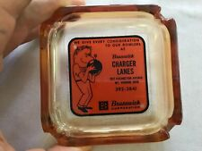 Brunswick Charger Lanes Vintage Glass Ashtray, Mt. Vernon, Ohio