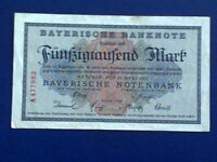 GERMANY - BAYERISH 50000 MARK 1923 -Munich- VERY FINE
