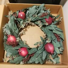 """Boxed POTTERY BARN POMEGRANATE WREATH holiday Christmas Thanksgiving harvest 16"""""""