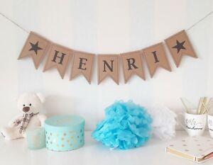 personalisierte Wimpelkette Baby Namen Girlande Namenskette Junge Mädchen Taufe