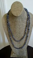 Free Shipping Long Knot Blue Beads stone pendant Necklace NEW MSRP $30