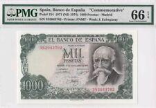 """1971 SPAIN 1000 PESETAS **MADRID**  PMG66 EPQ [P-154] GEM UNC """"Commemorative"""""""