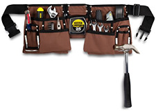 11 Pocket Brown and Black Heavy Duty Construction Tool Belt, Work Apron, Tool -