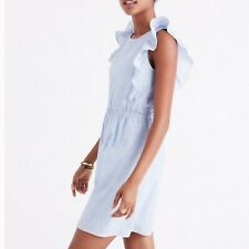 NWOT $128 MADEWELL Bellflower Ruffle sleeveless Dress in Craft Blue women's 4