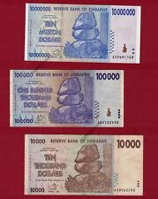 10 Million + 100,000 + 10,000 Zimbabwe Dollars Banknotes AA 2008 Currency - Rare