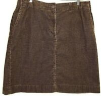 Eddie Bauer Womens Size 14 Brown Straight Corduroy Skirt Front and Back Pockets