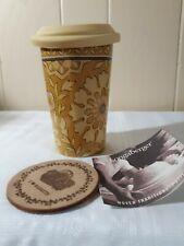 Longaberger Woven Traditions Pottery 10 oz Travel Mug w Silicone Lid + coaster