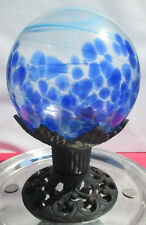 "Hand Blown 8"" Blue Swirled Art Glass Orb Globe on Beautiful Cast Iron Pedestal"