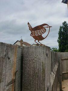 Lawn Garden metal Topper Art Steel Rusty wren Bird Flower Bed patina ornament